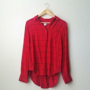 A new day red soft plaid button down flannel